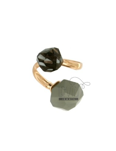 CONTRARY RING WITH STONES ROUND faceted MM 11 GREY AND DARK GREY SILVER COPPER TIT 925 ‰ SIZE ADJUSTABLE