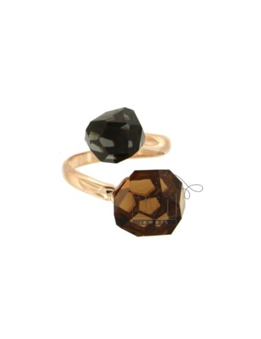 CONTRARY RING WITH STONES ROUND faceted MM 11 FUME &39DARK GRAY AND SILVER COPPER TIT 925 ‰ SIZE ADJUSTABLE