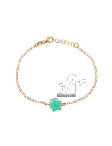 ROLO BRACELET &39STONE ROUND faceted MM 1O GREEN SILVER COPPER TIT 925 ‰ CM 18
