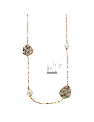 ROLO NECKLACE 'WITH PEARLS 10 MM AND CENTRAL TO 7 HYDROTHERMAL STONES BLUE COLOR WITH RED ZIRCONS IN SILVER GOLD PLATED ROSE TIT