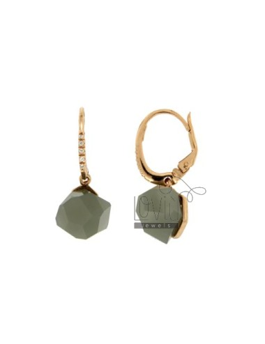 EARRINGS MONACHELLA STONE ROUND faceted MM 1O GREY WITH ZIRCONIA SILVER COPPER TIT 925 ‰