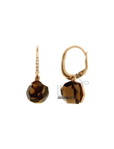 EARRINGS MONACHELLA STONE ROUND faceted MM 1O FUME &39ZRCONI SILVER AND COPPER TIT 925 ‰