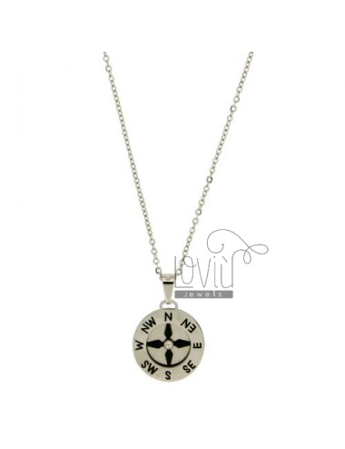 CHARM ROSE OF THE WINDS WITH STEEL INSERTS CLAD RUTENIO CHAIN CABLE 50 CM