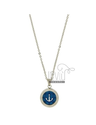 CHAIN CABLE CM 45.50 PENDANT ANCHOR 18 MM STEEL INSERTS CLAD WITH BLUE ZIRCON AND POLISH