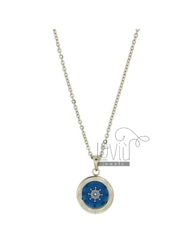 CHAIN CABLE CM 45.50 PENDANT RUDDER 18 MM STEEL INSERTS CLAD WITH BLUE ZIRCON AND POLISH