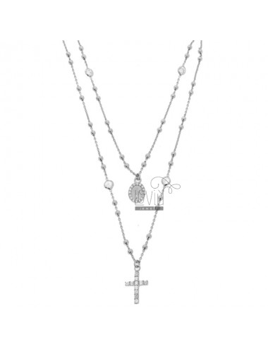 COLLIER TWO WIRE TYPE CROWN SILVER RHODIUM TIT 925 ‰ CROSS, MADONNA AND PARTITIONS IN ZIRCONIA WHITE