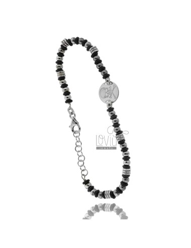 BRACELET BALL 3.5 MM AND WASHERS RUBBER &39WITH CENTRAL ROUND SKULL SILVER RHODIUM TIT 925 ‰ CM FROM 18 TO 21