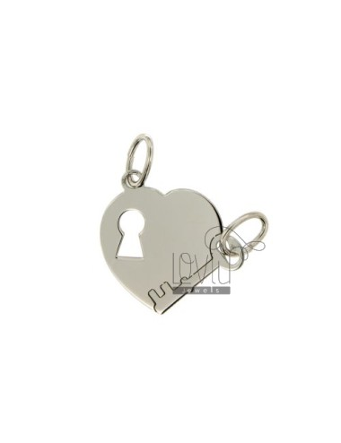 PENDANT HEART DIVIDED LOCK KEY 21x20 MM SILVER RHODIUM 925 ‰