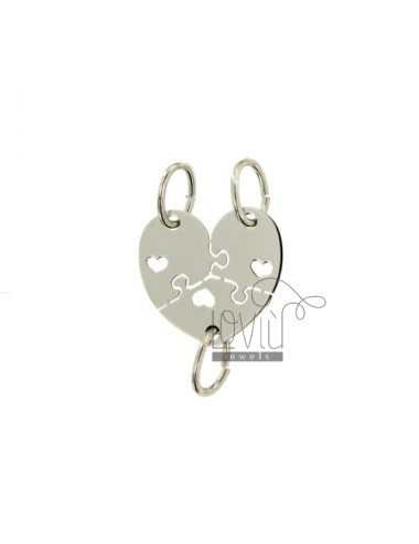 A PUZZLE PENDANT HEART DIVIDED 3 MM 18X18 SILVER RHODIUM 925 ‰