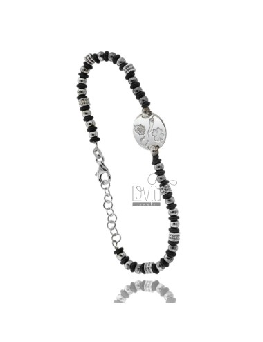 BRACELET WITH BALLS AND WASHERS RUBBER &39ROUND WITH CENTRAL WITH ENGRAVED SYMBOLS superstitious SILVER RHODIUM TIT 925 ‰ CM 2