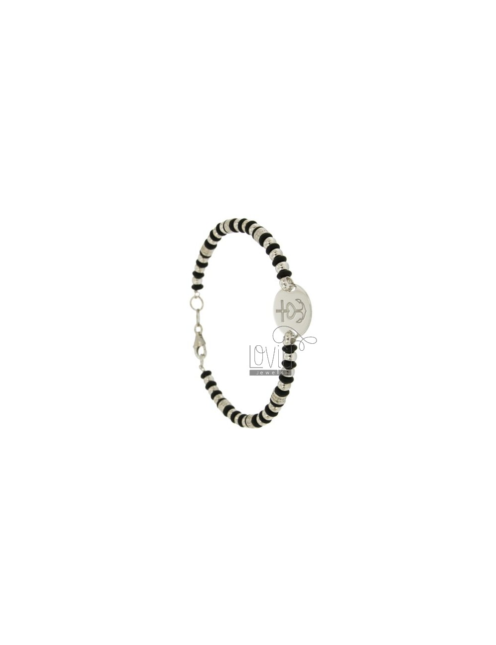 BRACELET WITH BALLS AND WASHERS RUBBER &39ROUND WITH CENTRAL WITH SENTENCE AGAIN AND HEART IN SILVER RHODIUM TIT 925 ‰ CM 20