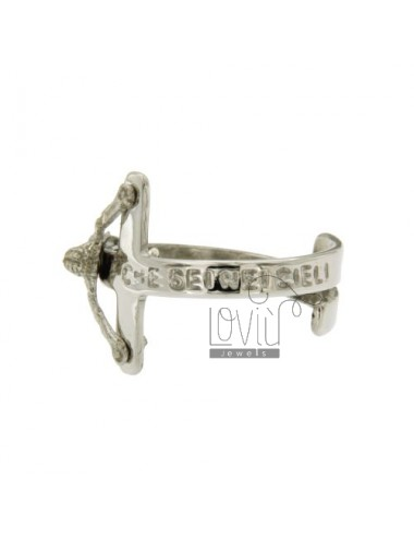 RING WITH CHRIST ON THE CROSS OUR FATHER WHO ART IN HEAVEN IN SILVER RHODIUM TIT 925 ‰ ADJUSTABLE SIZE