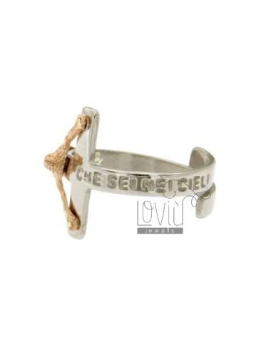 RING WITH CHRIST ON THE CROSS OUR FATHER WHO ART IN HEAVEN IN RHODIUM SILVER AND COPPER TIT 925 ‰ ADJUSTABLE SIZE