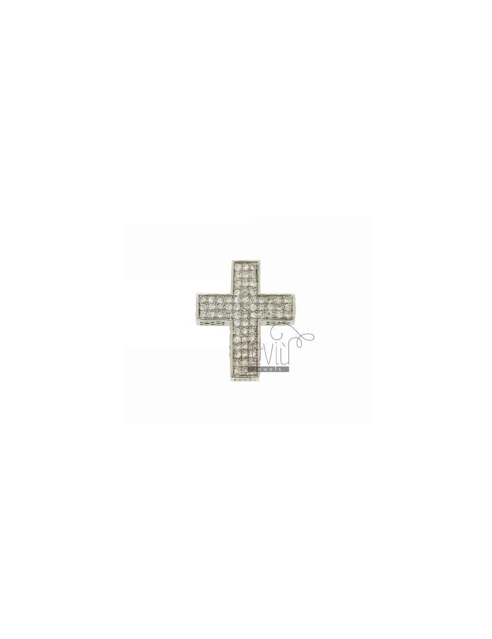 36x29 MM CROSS PENDANT IN AG TIT 925 ‰ WITH RHODIUM PAVE &39OF ZIRCONIA