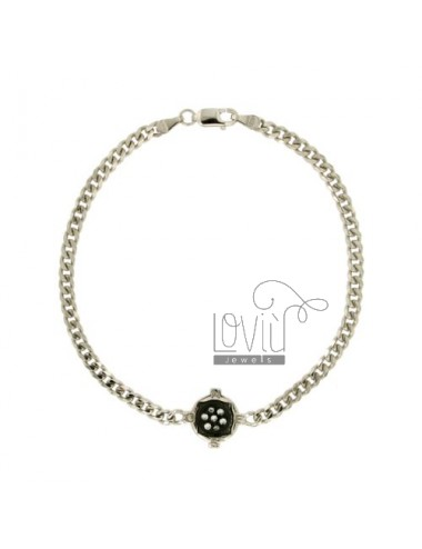 Curb BRACELET 3.6 MM WITH WIND ROSE SILVER PLATED RHODIUM AND RUTHENIUM TIT 925 ‰ 20 CM WITH ZIRCONIA