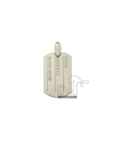 PENDENTE PIASTRA MILITARE MM 30X20 NAME, ADDRESS E BLOOD GROUP IN ARG. RODIATO TIT 925‰