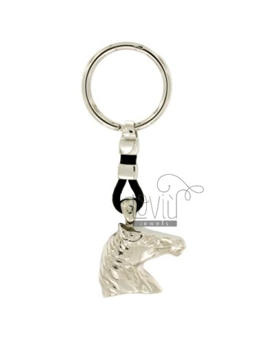 KEY RING 27x30 MM HORSE HEAD SILVER RHODIUM 925 ‰ AND LEATHER