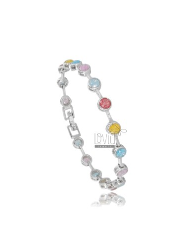 TENNIS BRACELET TYPE CIPOLLINO 5 MM 18 CM IN SILVER RHODIUM TIT 925 ‰ AND CRACKED ZIRCONS MULTICOLOR
