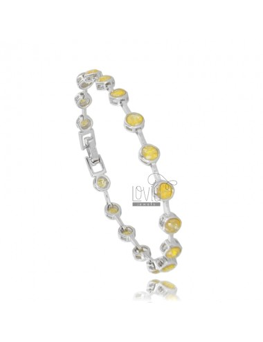 TENNIS BRACELET TYPE CIPOLLINO 5 MM 18 CM IN SILVER RHODIUM TIT 925 ‰ AND ZIRCONIA YELLOW CRACKED