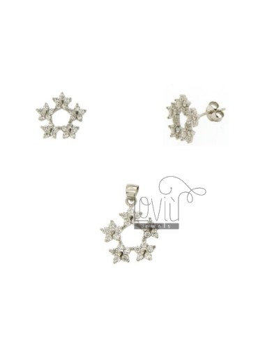SETS EARRINGS AND PENDANT GARLAND WITH PAVE &39OF ZIRCONIA SILVER RHODIUM TIT 925 ‰