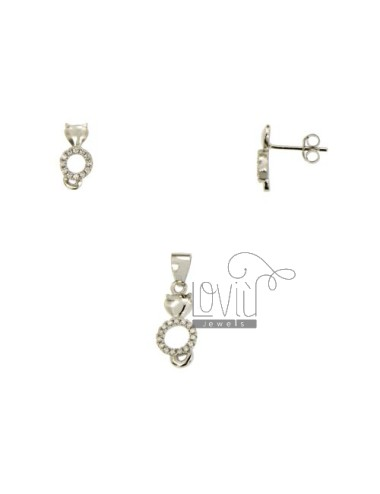 SETS EARRINGS AND PENDANT KITTEN WITH PAVE &39OF ZIRCONIA SILVER RHODIUM TIT 925 ‰
