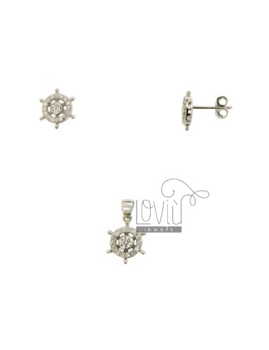 PARURE Earrings And Pendant RUDDER WITH PAVE &39OF ZIRCONIA SILVER RHODIUM TIT 925 ‰