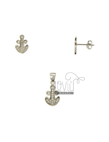 SETS EARRINGS AND PENDANT STILL WITH PAVE &39OF ZIRCONIA SILVER RHODIUM TIT 925 ‰