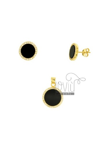 SETS EARRINGS AND PENDANT ROUND WITH ONYX AND PAVE &39OF ZIRCONIA SILVER GOLDEN TIT 925 ‰