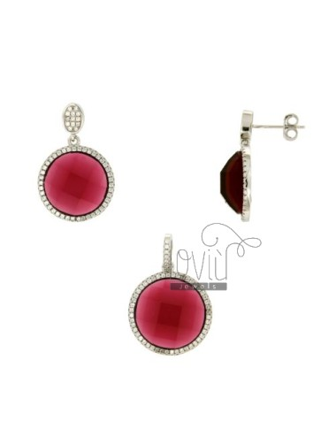 SETS EARRINGS AND PENDANT ROUND ZIRCON RED AND PAVE &39OF ZIRCONIA SILVER RHODIUM TIT 925 ‰