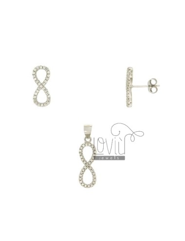 SETS EARRINGS AND ENDLESS CHARM WITH PAVE &39OF ZIRCONIA SILVER RHODIUM TIT 925 ‰