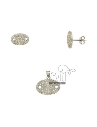 SETS EARRINGS AND PENDANT Visino OVAL WITH PAVE &39OF ZIRCONIA SILVER RHODIUM TIT 925 ‰