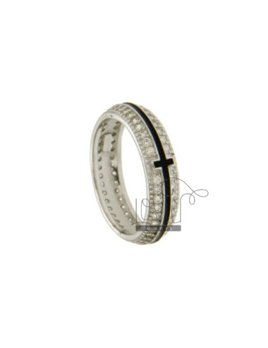 BAND RING 5 MM WITH CROSS CENTRAL AND GLAZED PAVE &39OF ZIRCONIA SILVER RHODIUM TIT 925 ‰ MEASURE 14