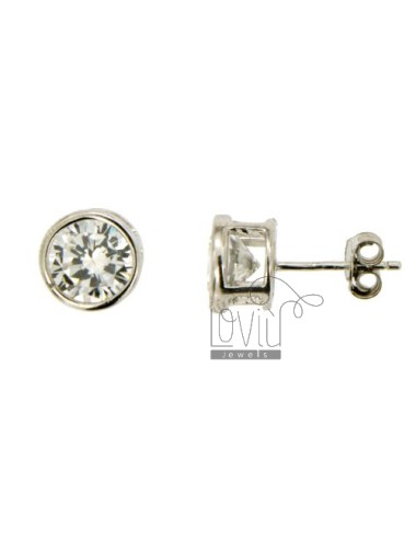 EARRINGS LIGHT POINT CHIVES WITH WHITE ZIRCON 6 MM SILVER RHODIUM 925 ‰