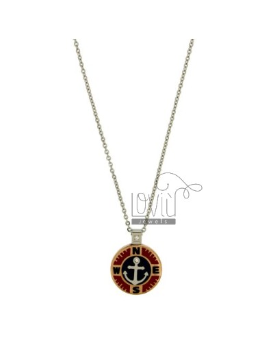 CHAIN CABLE CM 45.50 STILL WITH PENDANT 18 MM STEEL TWO TONE WITH INSERTS AND ENAMELLED ZIRCONE