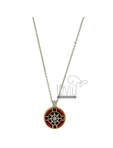 CHAIN CABLE CM 45.50 PENDANT RUDDER 18 MM STEEL TWO TONE WITH INSERTS AND ENAMELLED ZIRCONE
