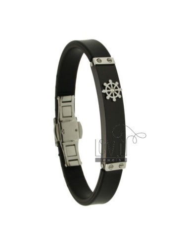 BRACELET RUBBER &3910 MM STEEL PLATE WITH TWO TONE WITH RUDDER AND ZIRCONE