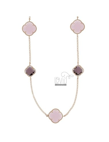 925 ‰ ROSE GOLD PLATED SILVER CHANEL AND HYDROTHERMAL STONES WITH PINK AND PURPLE TONES COLOR 11-13 CM 90