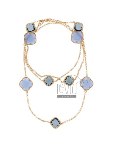 CHANEL SILVER PLATED ROSE GOLD 925 ‰ AND STONES WITH HYDROTHERMAL TONES OF BLUE COLOR CM 90 28.1