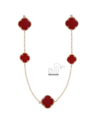 925 ‰ ROSE GOLD PLATED SILVER CHANEL AND CORAL PASTE CM 90