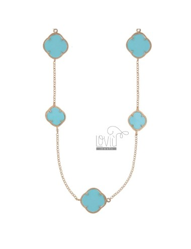 925 ‰ ROSE GOLD PLATED SILVER CHANEL AND TURQUOISE PASTE CM 90