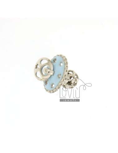 Pendant pacifier TRAFORATO WITH ANGELS MM 16x15 WITH RATTLE WITH POLISH AND ZIRCONIA SILVER RHODIUM TIT 925