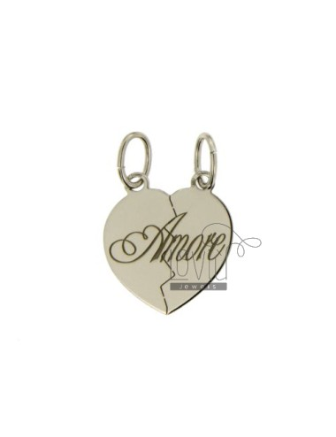 PENDANT HEART DIVIDED LOVE MM 20x18 SILVER RHODIUM 925 ‰