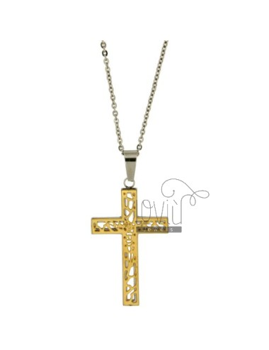 CROSS PENDANT STEEL 42X27 MM PLATED GOLD CHAIN CABLE 50 CM