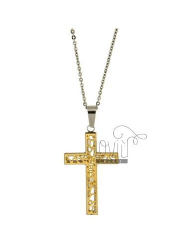 Cross pendant steel 42x27...