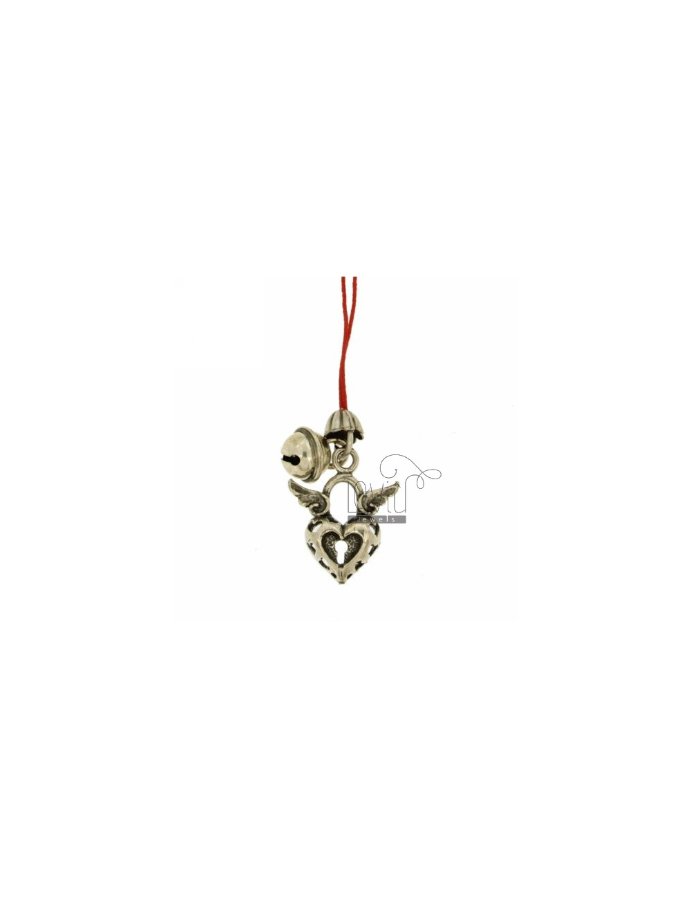 CHARMS FOR MOBILE HEART WITH WINGS AND Rattle IN AG TIT 800 ‰