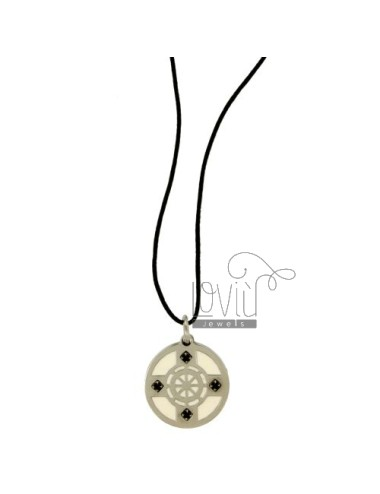 Pendant RUDDER 21 MM STEEL AND NAIL WITH ZIRCONIA BLACKS AND LACE SILK CERATA