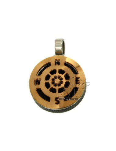 Pendant RUDDER 22 MM GOLD PLATED ROSE AND INSERTS CLAD RURTENIO