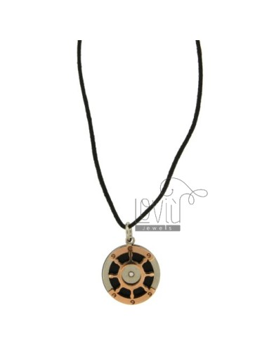 Pendant RUDDER 20 MM STEEL TWO TONE PLATED ROSE GOLD WITH LACE SILK CERATA