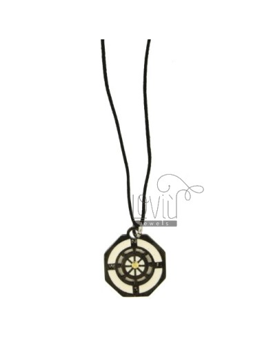 Pendant RUDDER STEEL WITH ELEMENTS CLAD RUTENIO, POLISH AND POINT Bilamina BRASS AND GOLD WITH LACE SILK CERATA