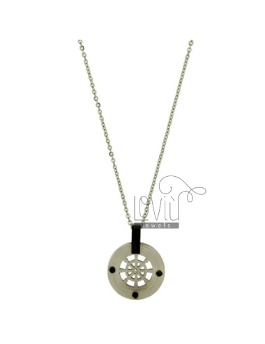 Pendant RUDDER STEEL 20 MM WITH ELEMENTS CLAD RUTHENIUM CHAIN CABLE 50 CM